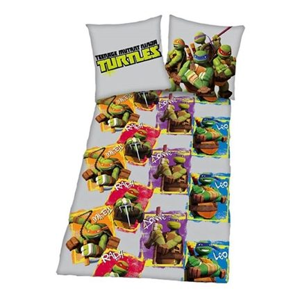 Turtles flanel dekbedovertrek